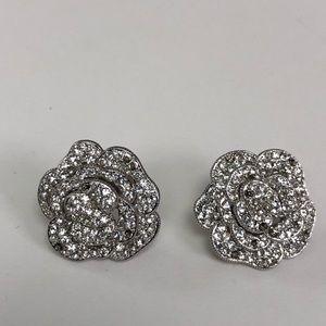 Rhinestone pierced earrings